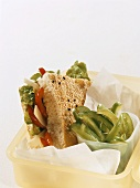 Pita bread with cheese & tomato filling & green pepper strips