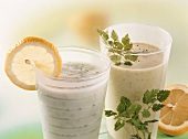 Cucumber & kefir and avocado buttermilk drink with chervil
