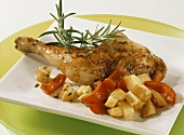 Hunter's chicken (chicken leg with potato and peppers)
