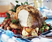 Turkey breast with nut stuffing and accompaniments