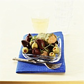Stuffed vine leaves and olives
