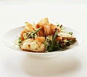 Frisée (curly endive) with prosciutto and toasted cheese
