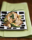 Chicken escalope with courgettes and oyster mushrooms