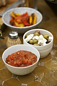 Tomato salsa, olives with feta and barbecued peppers