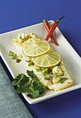 Cod fillet with chili and limes