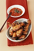 Chicken wings with tomato dip