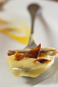 Crème brulee on spoon