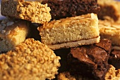 Assorted small cakes (flapjack, Bakewell slice, brownie)