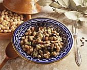 Chick-peas with aubergines