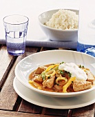 Turkey and pepper goulash with crème fraiche