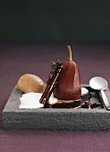 Pear in red wine with chocolate ice cream