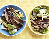 Romaine lettuce with Portobello mushrooms and blue cheese