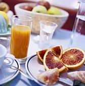 Orange wedges and orange juice