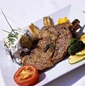 Ribeye steak with baked potato