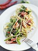 Asian noodle salad with shrimps