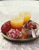 Fruit juice with pomegranate seeds