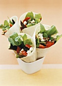 Wraps with grilled vegetables and goat's cheese