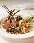 Rack of spring lamb with mushrooms and vegetables