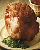 Roast ham on apple sauce