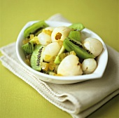 Lychee and kiwi fruit salad