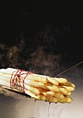 A bundle of white asparagus on skimmer
