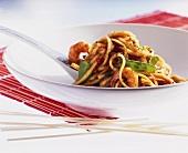 Udon noodles with shrimp tails
