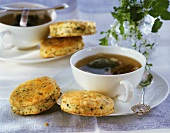 Herb scones with tea