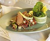 Lamb fillet on potato salad