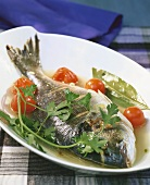 Dorade all'acqua pazza (cooked in a special cooking liquor)