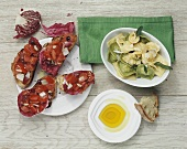 Tortellini with sage & olive oil & bruschetta with radicchio