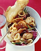 Corn-fed chicken breast with orecchiette and radicchio