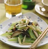 Mushroom & celery stir-fry with Japanese Mondo grass (China)