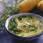 Chinese soup with baby sweetcorn