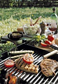 Barbecued chops and vegetables