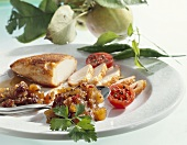 Roast chicken breast with apple chutney
