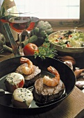 Surf and Turf (fillet steak with shrimps & stuffed tomatoes)