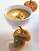 Pumpkin soup with sweet potato crisps