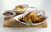 Roast pheasant with mashed potato