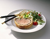 Filet Wellington with salad