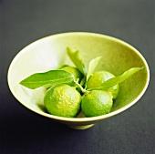 A bowl of yuzu (Japanese citrus fruit)