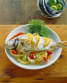 Black seabream with oranges and fennel