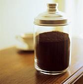Ground coffee in jar