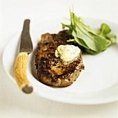 Rump steak with herb butter