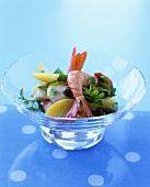 Shrimp salad in glass bowl