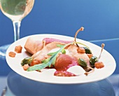 Vitello tonnato with marinated tuna