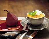 Pear in red wine and apple puree with saffron