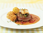 Venison steak with cep and potato balls