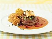 Venison steak with cep and potato balls