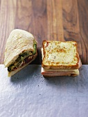 Filled panini and Croque monsieur