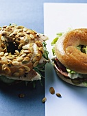 Pumpkin seed bagel with smoked salmon & bagel with roast beef